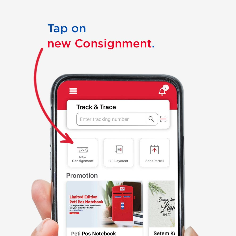 Step 1: Open the Pos mobileapp and tap New Consignment  Step